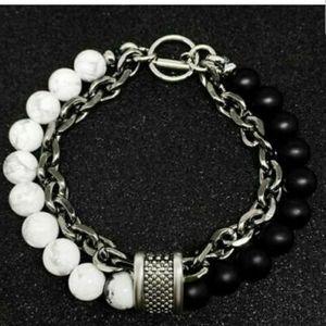 🆕 NWOT Men's White Gray swirly 2 layer Bracelet
